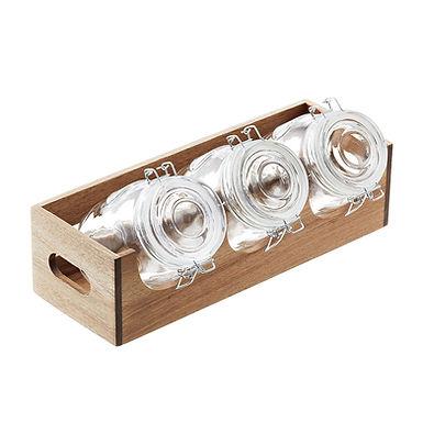 3 Cereal Holder Set 1L Leone, Glass/Wood, 1 set, 40x14.5x11cm