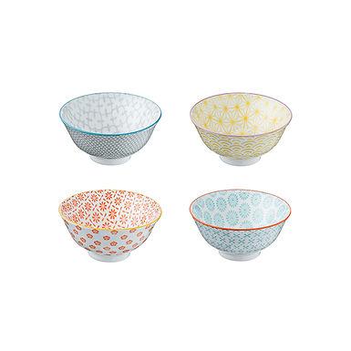 Set of 4 Colors Round Bowls Leone Monet, Stoneware, 1 set, Ø9x3.7cm
