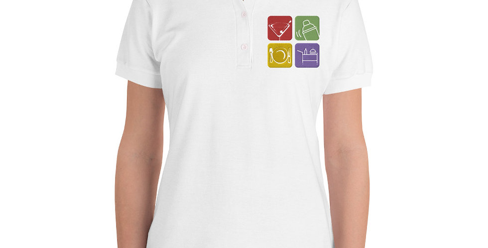 Women's Polo Shirt with Custom Embroided Logo, 2 Colors, 5 Sizes, Custom Logo