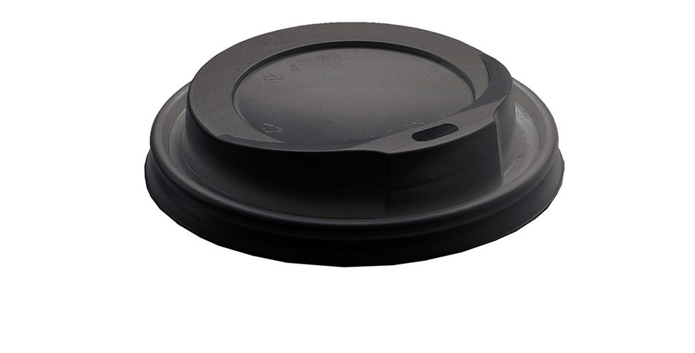 Disposable Paper Cup Lid, for 12oz/16oz Cups, with Hinged Tab, Black, Ø92.5mm