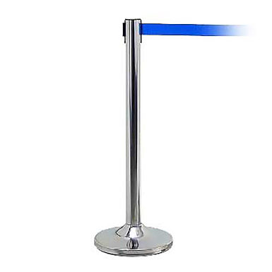 Guidance Barrier with Blue Belt, Stainless Steel, 2m Belt