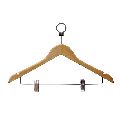 Wooden Curved Hanger with Clips, with Anti-Theft Ring