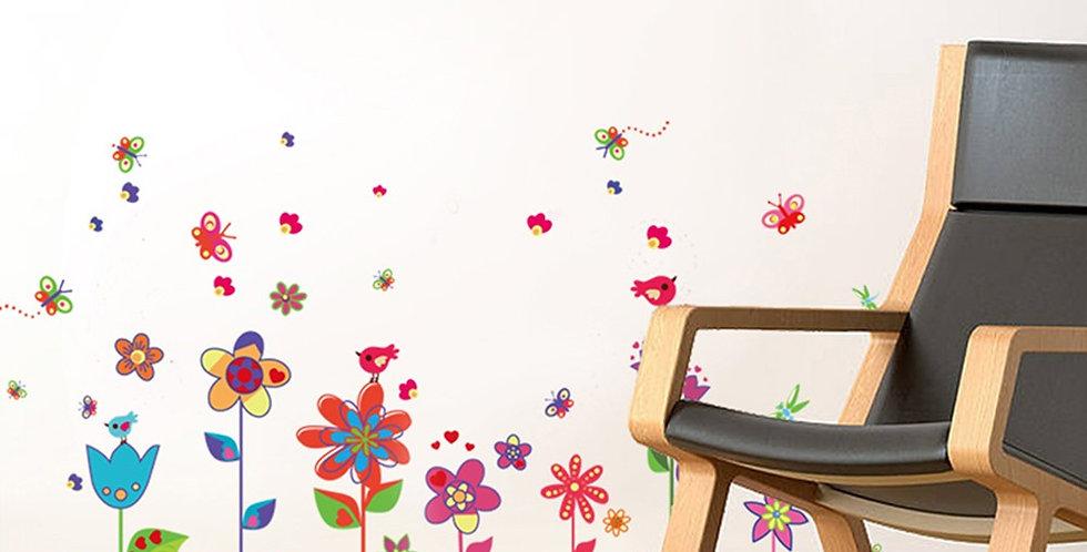 Colourful Flowers Butterflies WALPLUS, Sticker, 48x120cm