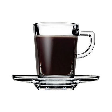 Espresso Cup Pasabahce Carre', Tempered, with Saucer, 72ml
