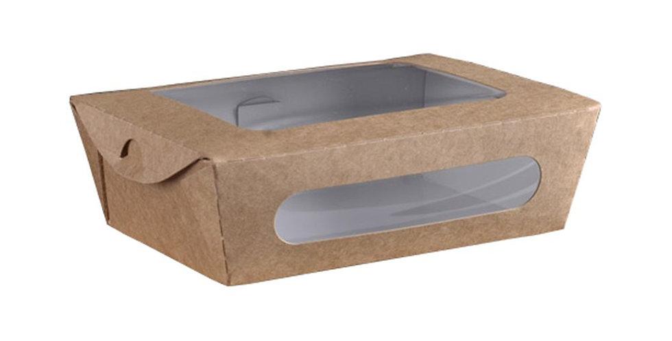 Food Box, with Presentation Window, Rectangle, Kraft Paper, 16x12x5cm