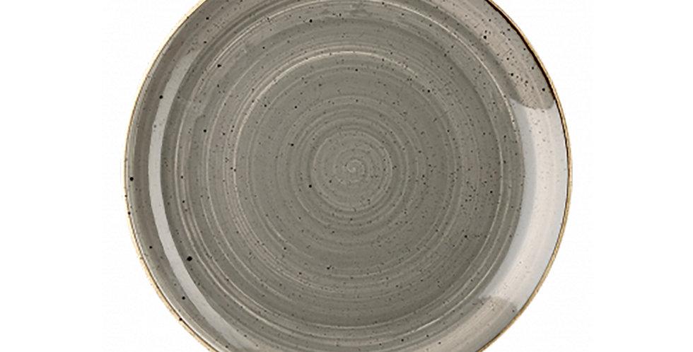 Flat Plate Churchill Stonecast, Round, Peppercorn Gray