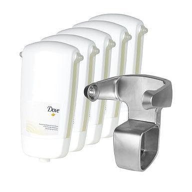 5 pcs. Shampoo & Shower Gel Dove SoftCare Sensations, with a Dispenser Base