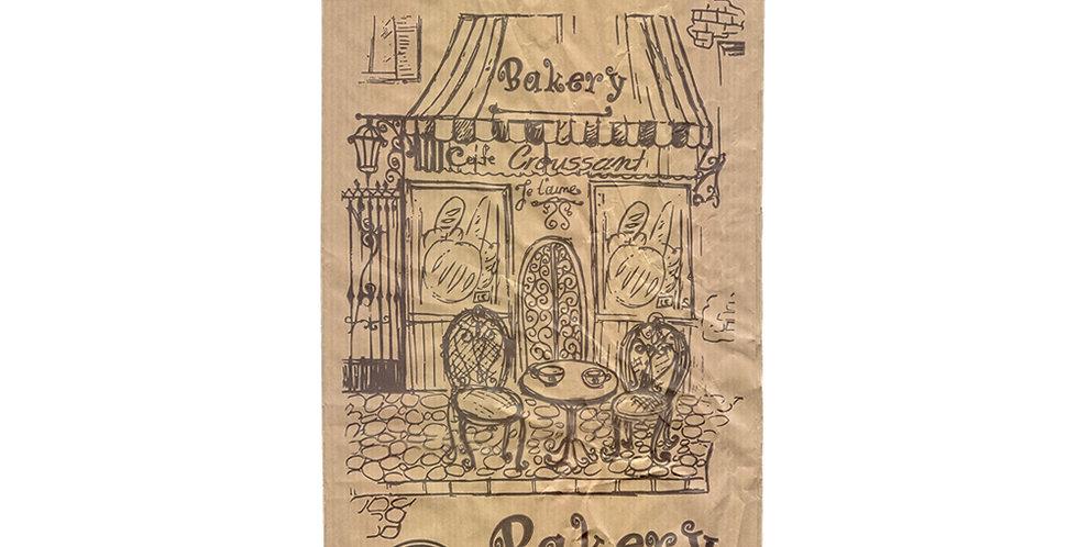Pouch Bag, Bakery Design, Kraft Paper, 17x33cm, 1kg