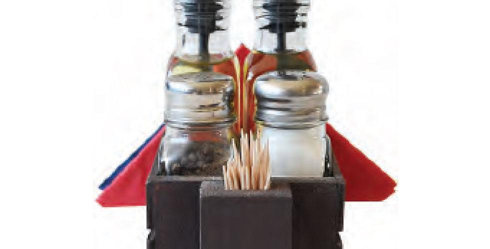 Oil&Vin. Set, Salt&Pepper Shaker, Toothpick Holder, Napkin Holder with Wood Base