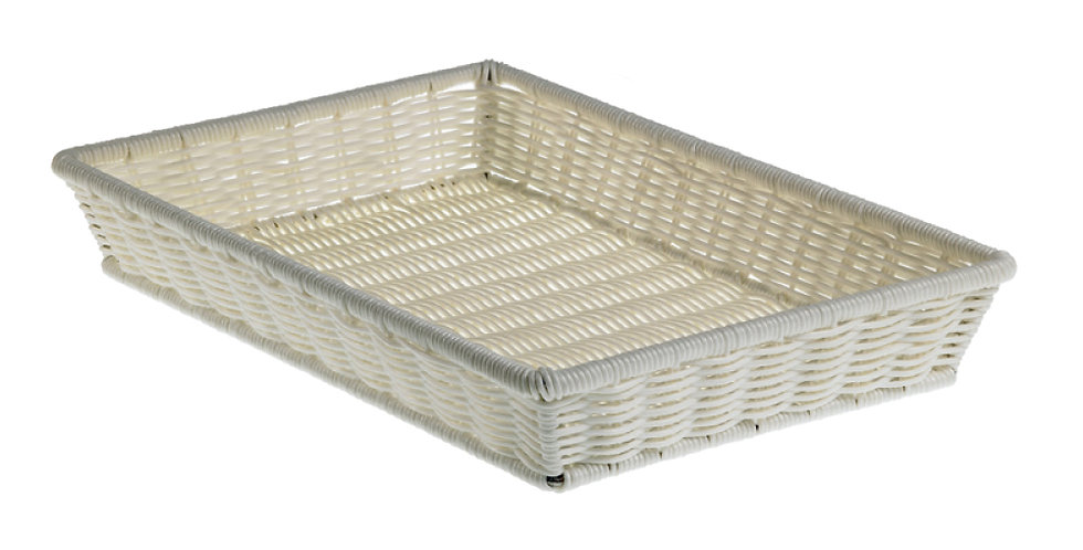 Basket Leone, Polypropylene, White, 1 pc, 41.5x28x8cm