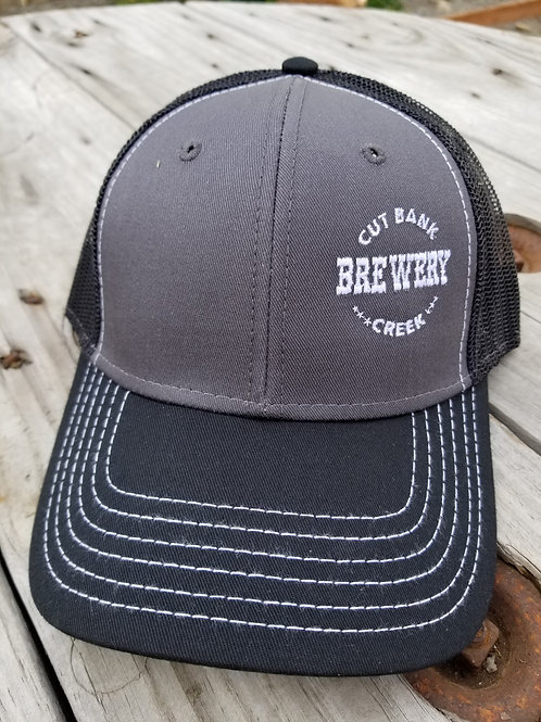 Black and gray hat of centered logo