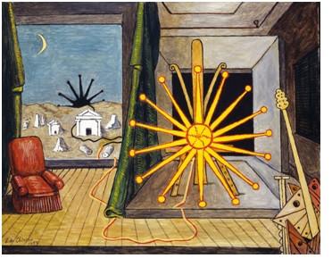 Giorgio de Chirico. Sole su cavalletto 1974
