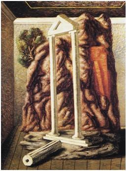 Giorgio De Chirico – Tempio della foresta nella camera (1928)