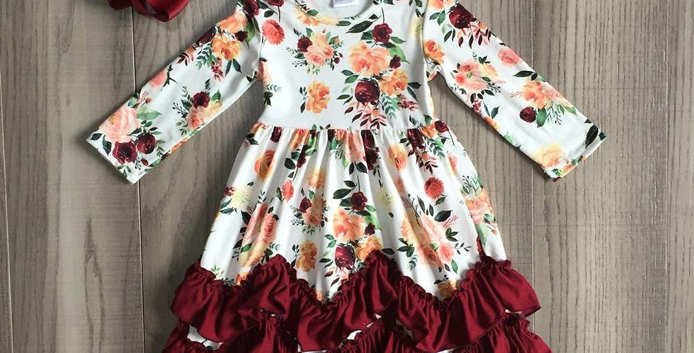 Girls Burgundy Floral Ruffle Maxi Dress w/Bow