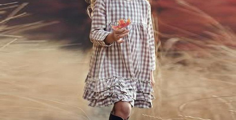 Plaid Long Sleeve Ruffled Dress