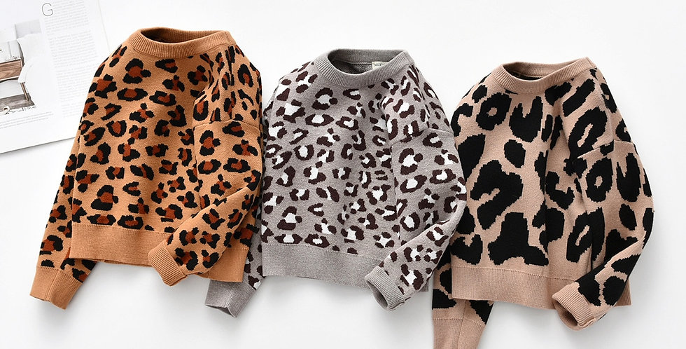 Leopard Print Knit Pullover Long Sleeve Top