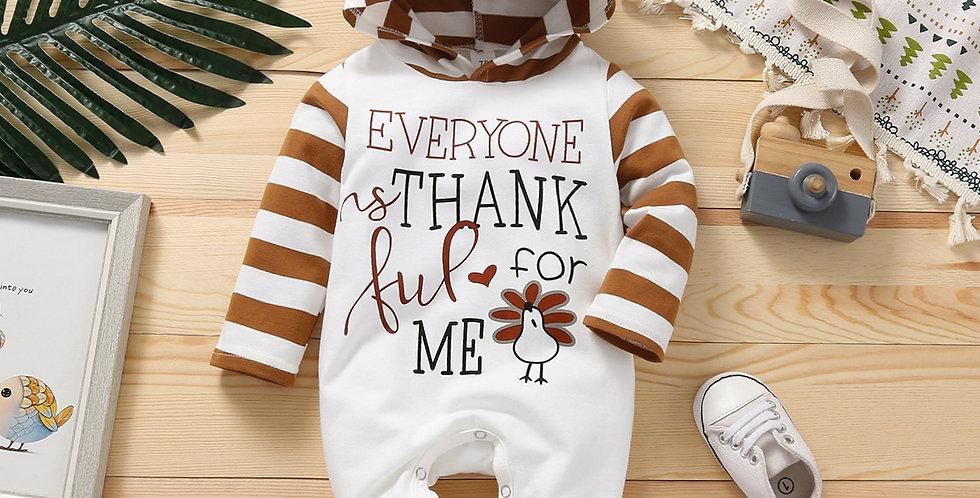 Long Sleeve Turkey Printed Hooded Jumpsuit