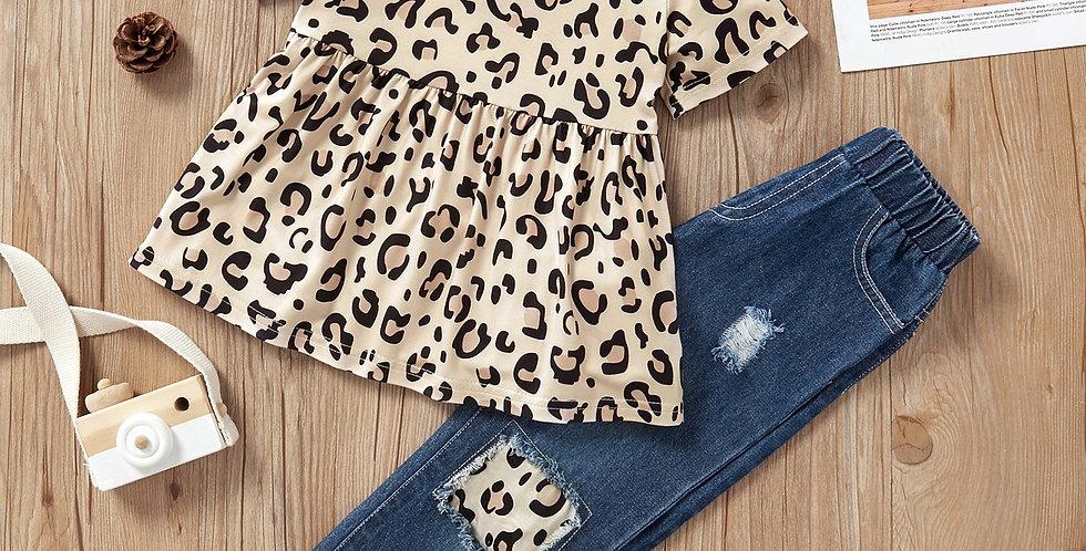 Leopard Print Dress and Denim Pants Set