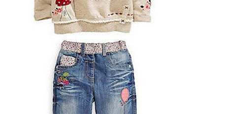 Cartoon Long Sleeves Sweater and Jeans Set