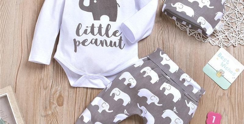 """Little Peanut"" Elephant Bodysuit and Pants With Hat Set"