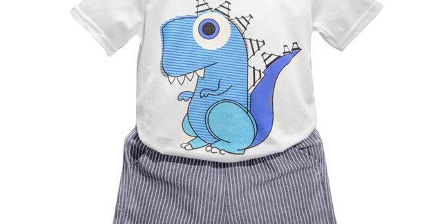 Dinosaur Print Short-sleeved Shirt with Shorts Set