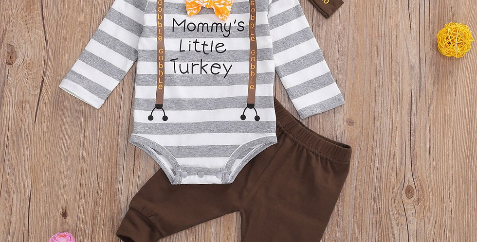 Mommy's Little Turkey Romper, Pants, and Hat Outfit