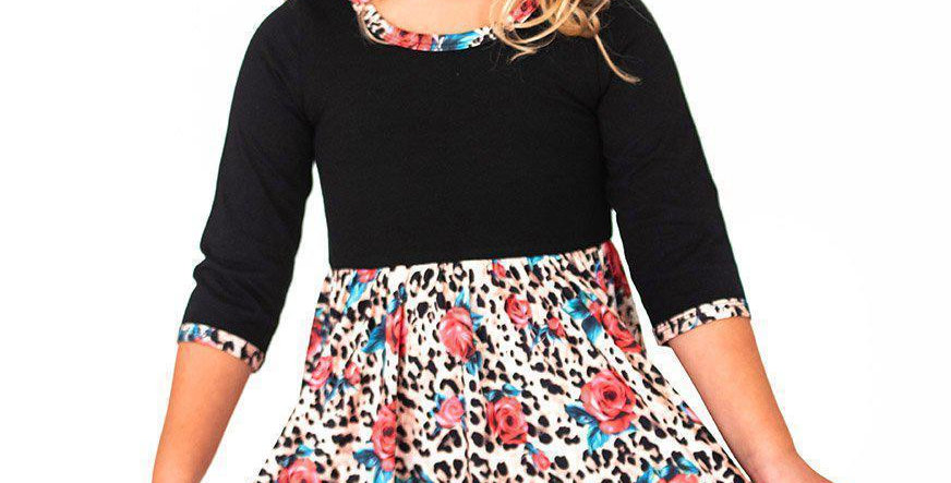 Leopard & Roses Twirl Hugs Dress - RTS