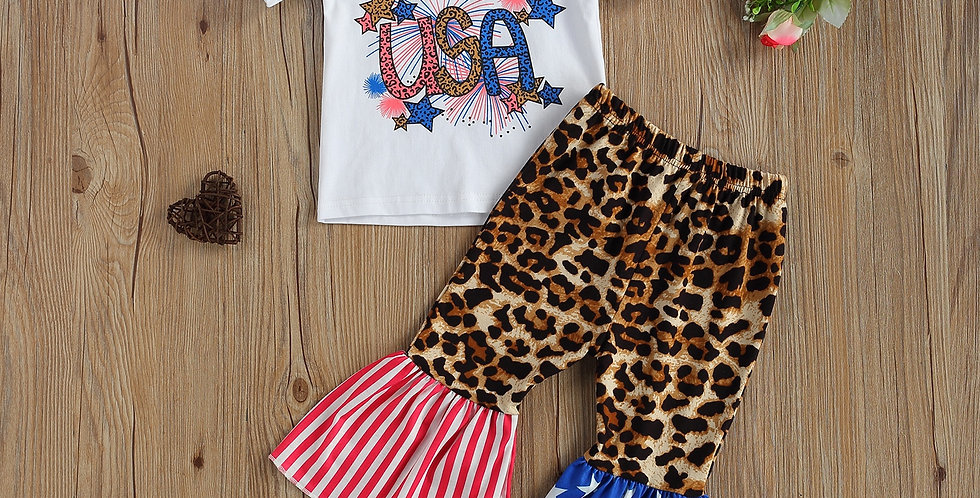 Independence Day Short Sleeve Top and Flared Pants Outfit