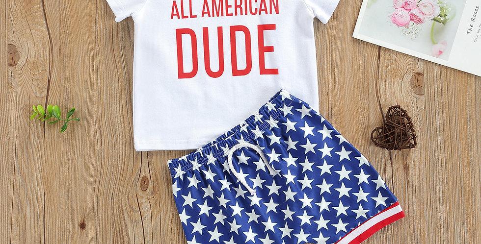 Boys 2pcs American Dude Short Sleeve T Shirt and Star Print Shorts