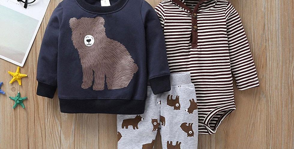 Bear and Stripe Long-Sleeve 3 Piece Set