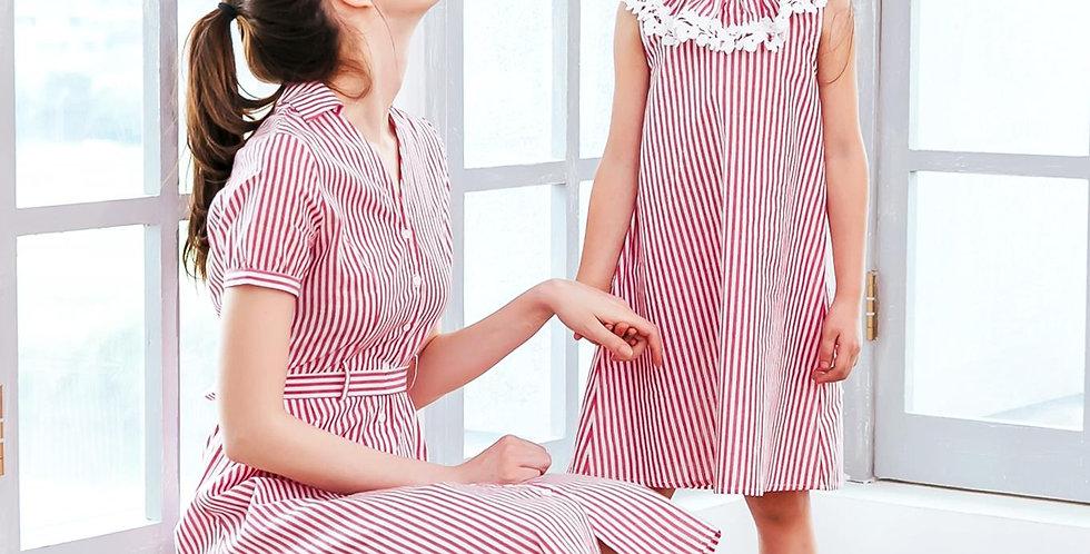 (Mommy & Me) Red stripe dress (set of 2)