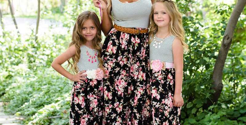 Mommy and Me Casual Striped Floral Maxi Dress