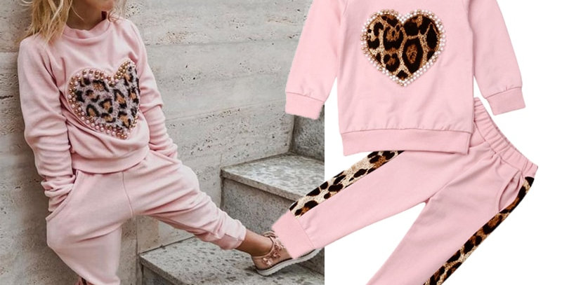 Pink Long Sleeve Leopard Track Suit