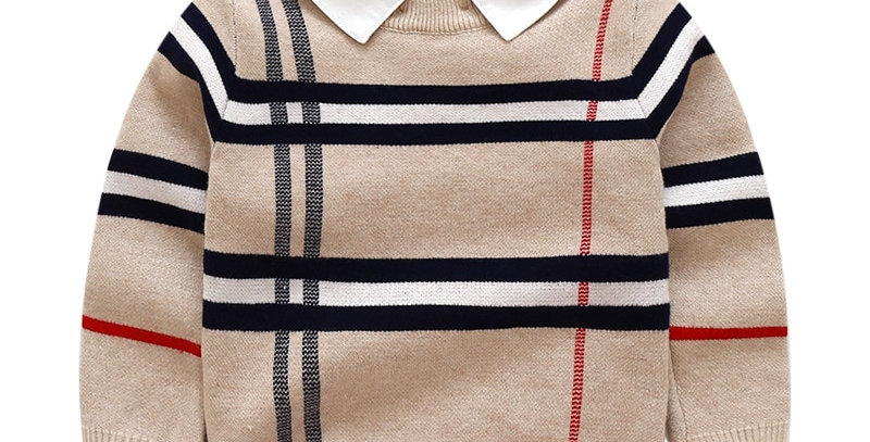 Pullover Plaid Knit Sweater