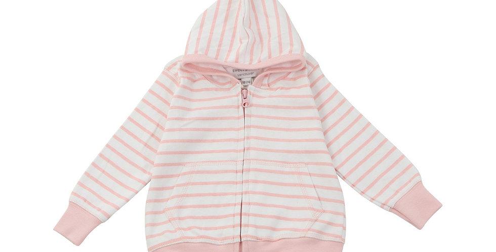Hoodie in Light Pink Marseille Stripe