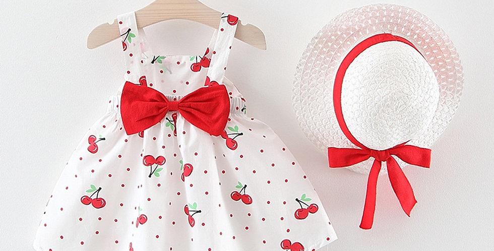 Sleeveless Cherry Dot Princess Dress with Hat