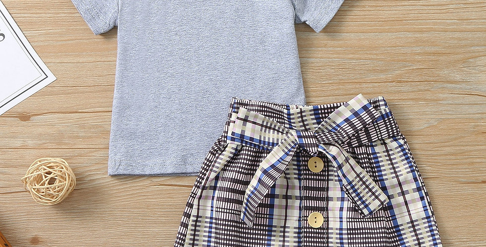 Solid Ruffle Top with Plaid Skirt Set