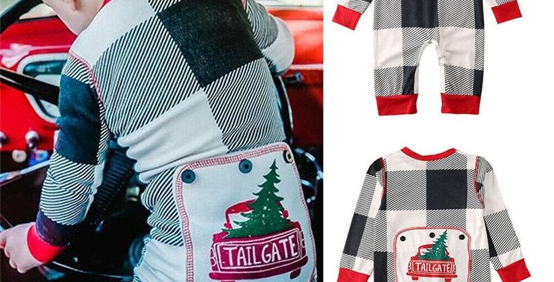 Plaid Long Sleeve Christmas Tree Pajamas