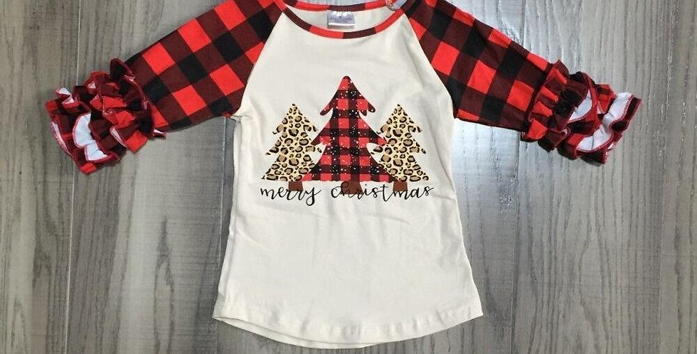 Winter Girls Christmas Tree Print Raglan Plaid Sleeve Top