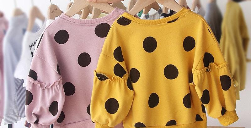 Long Sleeve Dots Sweatshirt