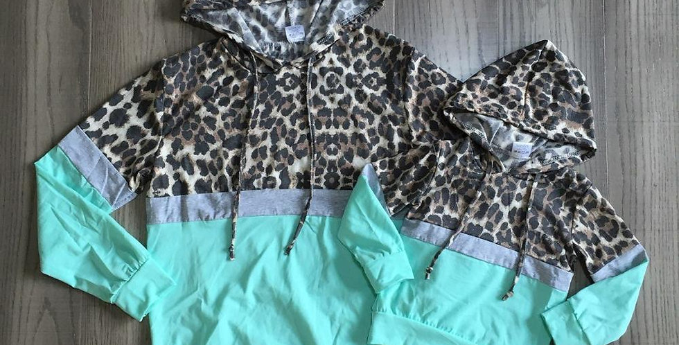 Mommy and Me Leopard Print Aqua Hoodie
