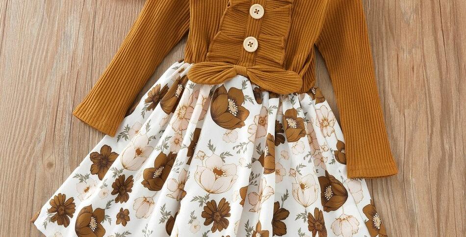 Flower Print Long-Sleeve Dress
