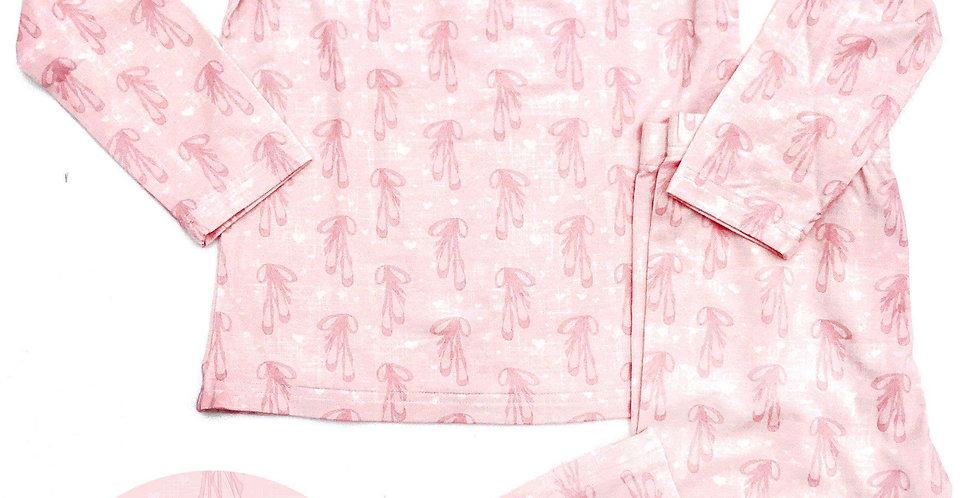 Pink Ballerina Slipper Bamboo Kids Long Sleeve Lounge Set
