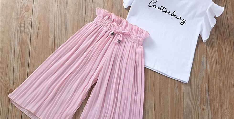 Girls T-Shirt +Wide Leg Pants Suits Summer Clothing Set