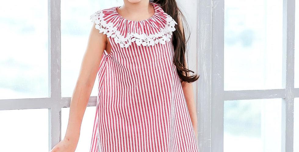 Girl Red stripe sleeveless dress