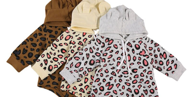 Infant Long Sleeve Leopard Print Hooded Jumpsuit