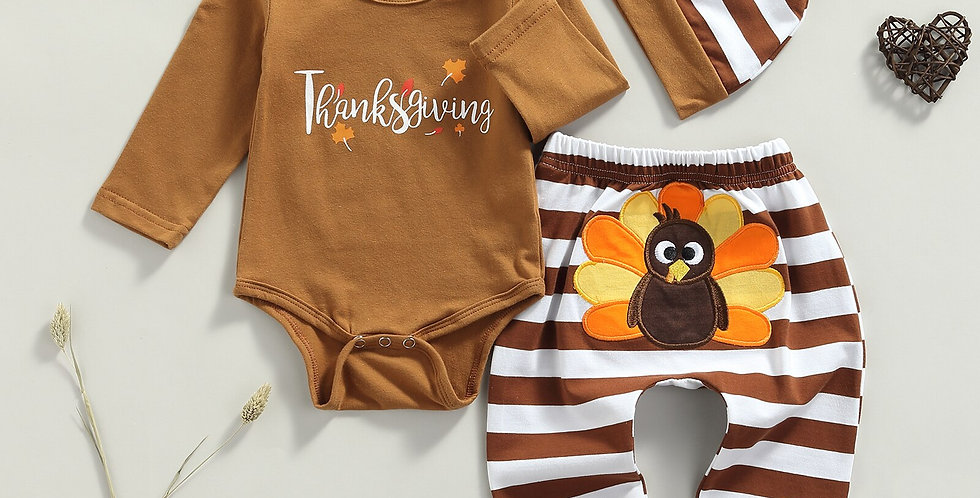 Infant 3Pcs Thanksgiving Day Outfit