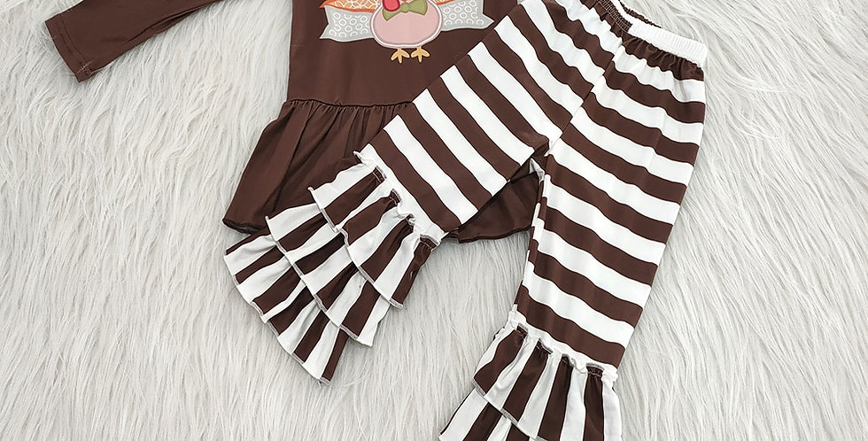 Long Sleeve Top with Striped Ruffle Pants Thanksgiving Outfit