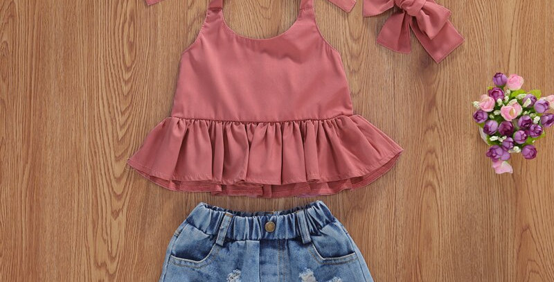 Off Shoulder Sleeveless Solid Top with Denim Shorts and Headband 3Pcs Outfit