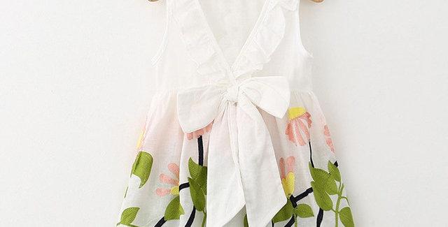 Big Bow V-neck Embroidery Dress